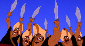 - He's got a sword! - You idiots. We've all got swords.