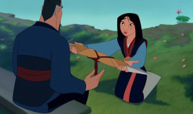 - Father, I brought you the sword of Shan-Yu. And the crest of the Emperor. They're gifts to honor the Fa family. - The greatest gift and honor is having you for a daughter.
