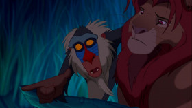 - He's alive, and I'll show him to you. You follow old Rafiki. He knows the way. Come on! <...> Look down there.  - That's not my father. That's just my reflection. - No. Look harder. You see? He lives in you.
